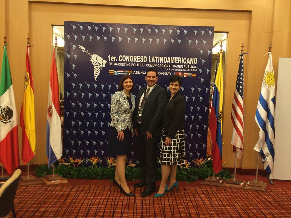 Con Directores de Aliados Estrategicos Centroamerica Martha Mejia y Estuardo Chaves en 1er Congreso Latinoamericano de Marketing Politico Comunicacion e Imagen Publica Asuncion Paraguay 2016