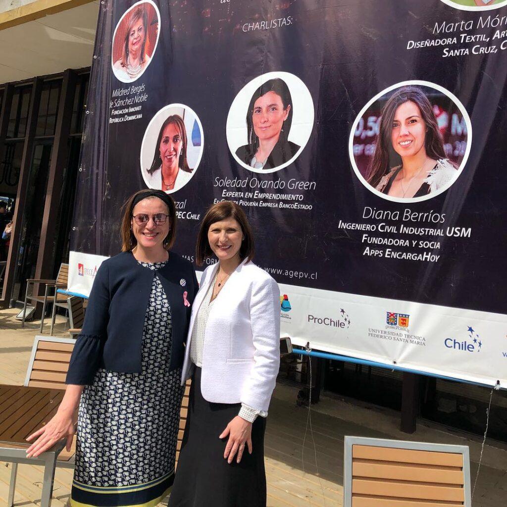 Encuentro de Mujeres de las Américas realizado en Chile Delegacion de OMEU con la Presidenta Anabela Aldaz Octubre 2018