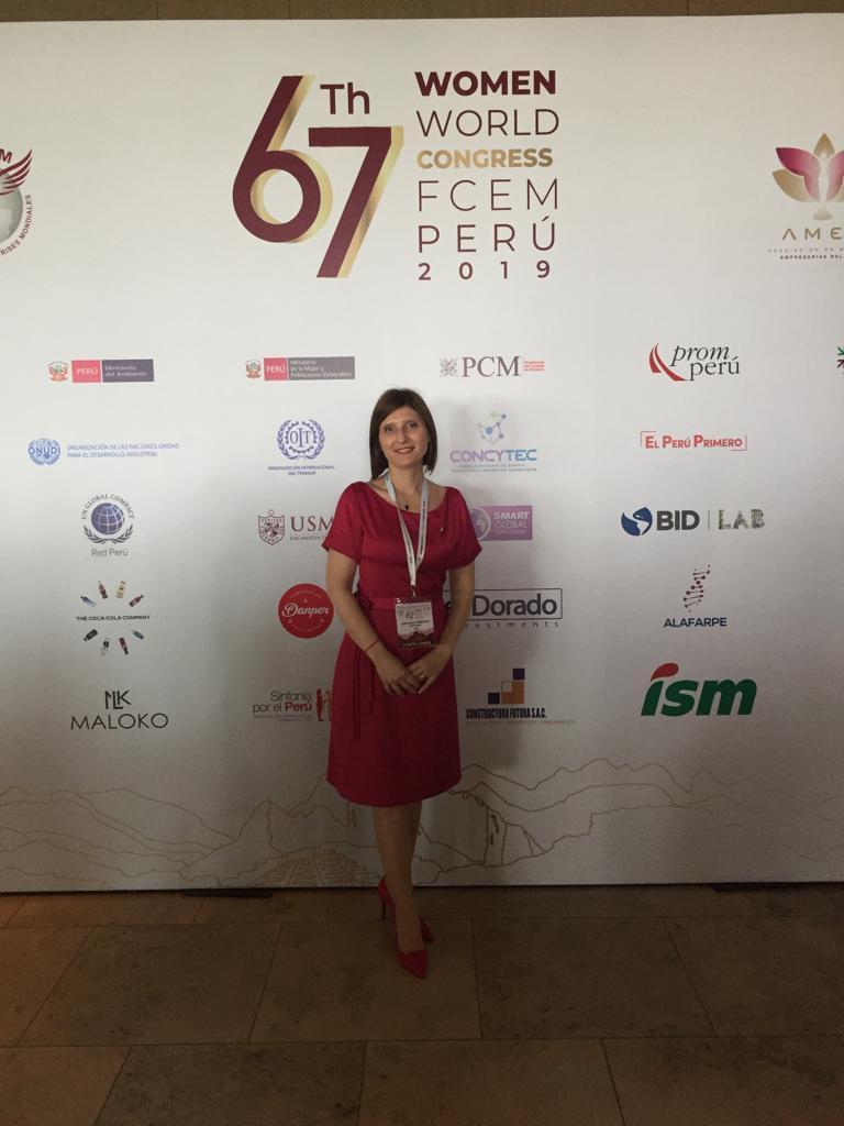 Participando del 67 Congreso Mundial de Mujeres Empresarias FCEM en Lima noviembre 2019